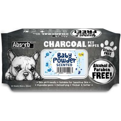 Absorb Plus Charcoal Baby Powder Pet Grooming Wipes For Dogs 80 Pack