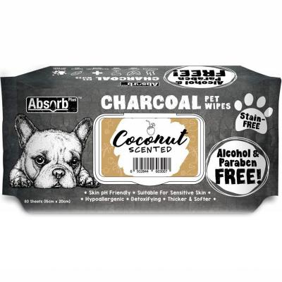 Absorb Plus Charcoal Coconut Pet Grooming Wipes For Dogs 80 Pack
