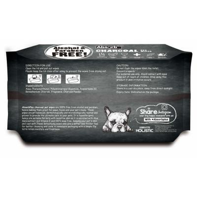 Absorb Plus Charcoal Lemon Pet Grooming Wipes For Dogs 80 Pack