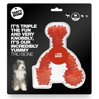 Tasty Bone Beef Nylon Trio Toy Large For Adult Dogs