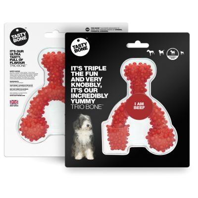 Tasty Bone Beef Nylon Trio Toy Small For Adult Dogs
