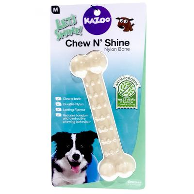 Kazoo Chew N Shine Nylon Bone Chicken Flavoured Medium Treat Toy For Dogs