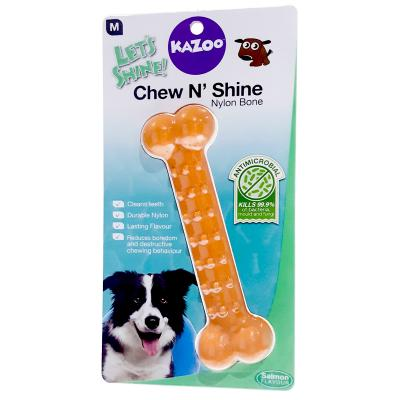 Kazoo Chew N Shine Nylon Bone Salmon Flavoured Medium Treat Toy For Dogs