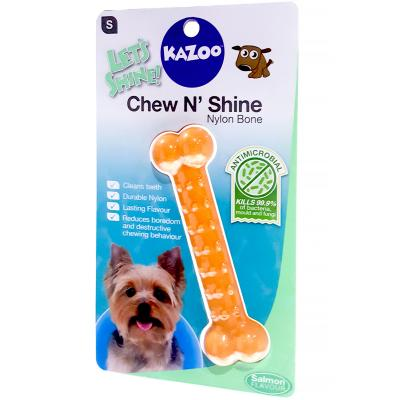 Kazoo Chew N Shine Nylon Bone Salmon Flavoured Small Treat Toy For Dogs
