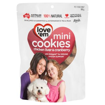 Love em Cookies Mini Chicken Liver And Cranberry Treats For Dogs 300gm