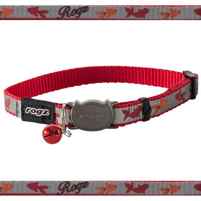 Rogz Reflectocat Safeloc Break Away Safety Collar Red Fish 11mm Width For Medium And Large Cats
