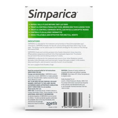 Simparica For Dogs 20.1- 40kg Green Large 3 Chews