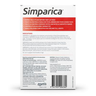 Simparica For Dogs 40.1- 60kg Red XLarge 3 Chews