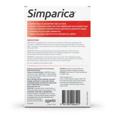 Simparica For Dogs 40.1- 60kg Red XLarge 6 Chews