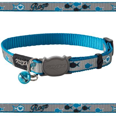 Rogz Reflectocat Safeloc Break Away Safety Collar Blue Fish 11mm Width For Medium And Large Cats
