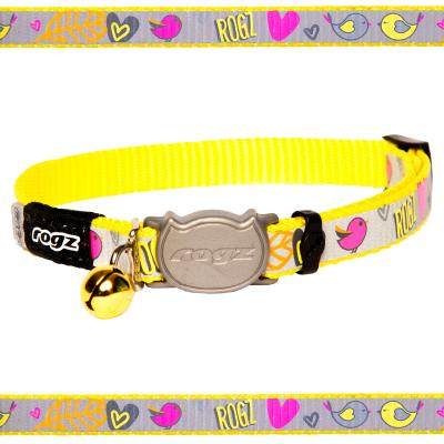 Rogz Reflectocat Safeloc Break Away Safety Collar Dayglo Birds 11mm Width For Medium And Large Cats