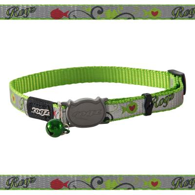 Rogz Reflectocat Safeloc Break Away Safety Collar Lime Fish 11mm Width For Medium And Large Cats