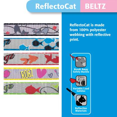 Rogz Reflectocat Safeloc Break Away Safety Buckle Collar Lime Fish XSmall 8mm For Cats
