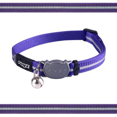 Rogz Alleycat Safeloc Break Away Safety Collar Purple 11mm Width For Medium And Large Cats