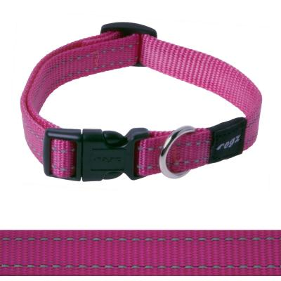 Rogz Utility Snake Reflective Collar Pink Medium For Dogs 26-40cm x 16mm