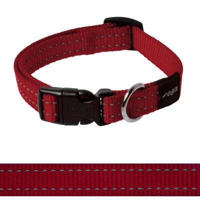 Rogz Utility Snake Reflective Collar Red Medium For Dogs 26-40cm x 16mm