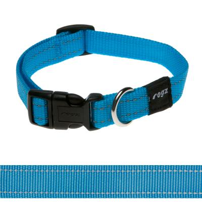 Rogz Utility Snake Reflective Collar Turquoise Medium For Dogs 26-40cm x 16mm