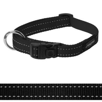Rogz Utility Fanbelt Reflective Collar Black Large 34-56cm x 20mm For Dogs