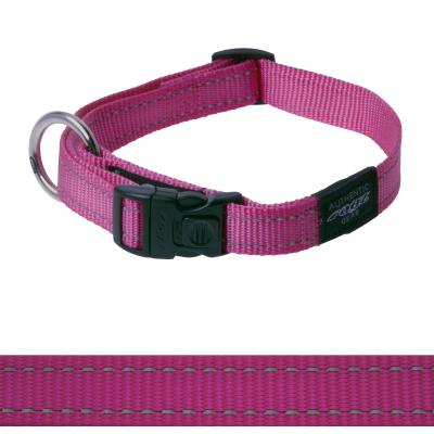 Rogz Utility Fanbelt Reflective Collar Pink Large 34-56cm x 20mm For Dogs