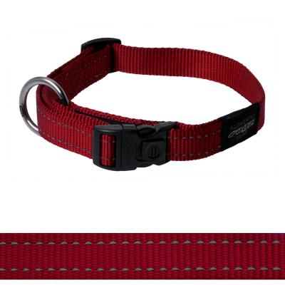 Rogz Utility Fanbelt Reflective Collar Red Large 34-56cm x 20mm For Dogs