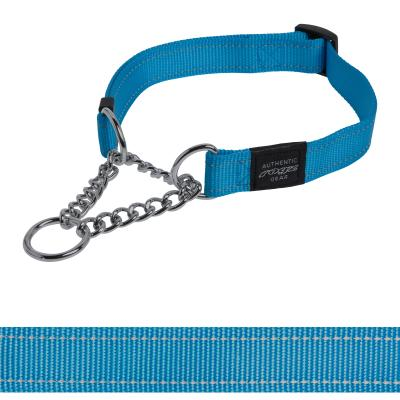 Rogz Utility Fanbelt Reflective Obedience Collar Turquoise Large For Dogs 40-56cm x 20mm