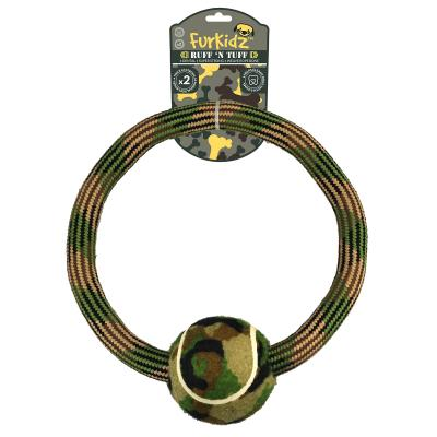 Ruff n Tuff Weave Rope Bone Ring With Ball Toy For Dogs 30cm