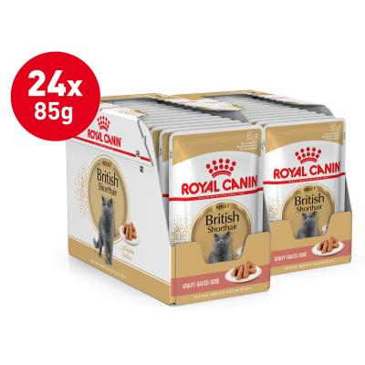 Royal Canin British Shorthair In Gravy Adult Over 12 Months Pouches Wet Cat Food 85gm x 24