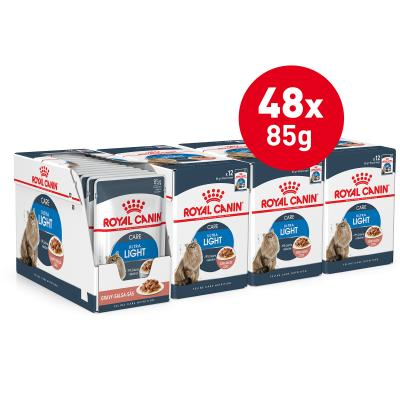 Royal Canin Ultra Light In Gravy Adult Pouches Wet Cat Food 85g x 48