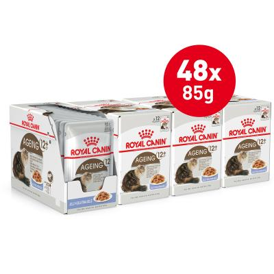 Royal Canin Ageing In Jelly 12+ Years Mature/Senior Pouches Wet Cat Food 85g x 48