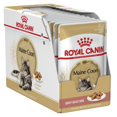 Royal Canin Maine Coon In Gravy Adult Over 15 Months Pouches Wet Cat Food 85gm x 12
