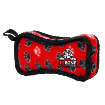 Tuffy Jr Bone2 Red Paw Tough Soft Toy For Dogs