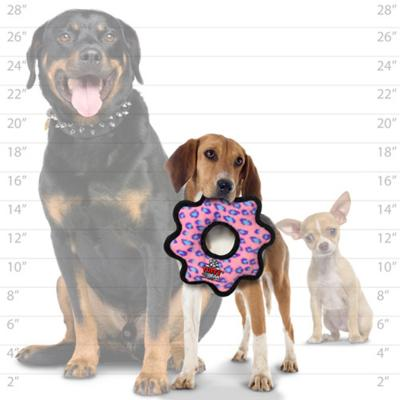 Tuffy Jr Gear Ring Pink Leopard Tough Soft Toy For Dogs
