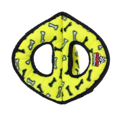 Tuffy Ultimate 3 Way Ring Yellow Bones Tough Soft Toy For Dogs