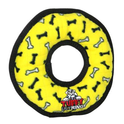 Tuffy Ultimate Ring Yellow Bones Tough Soft Toy For Dogs