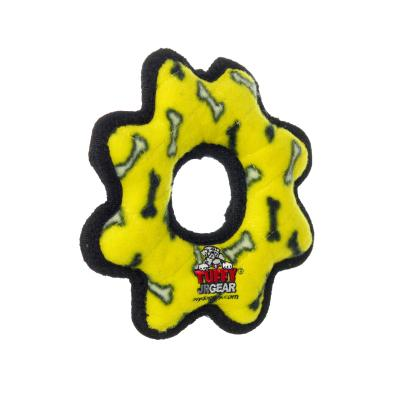 Tuffy Jr Gear Ring Yellow Bones Tough Soft Toy For Dogs