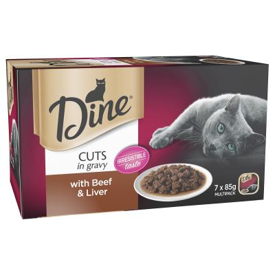 Dine Cuts in Gravy Beef And Liver Adult Canned Wet Cat Food 85gm x 7