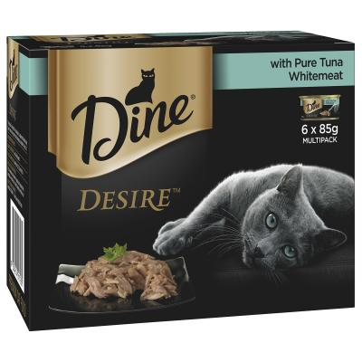 Dine Desire Pure Tuna Whitemeat Adult Canned Wet Cat Food 85gm x 6