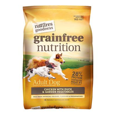 Natures Goodness Grain Free Chicken Duck And Garden Vegetables Dry Dog Food 7kg