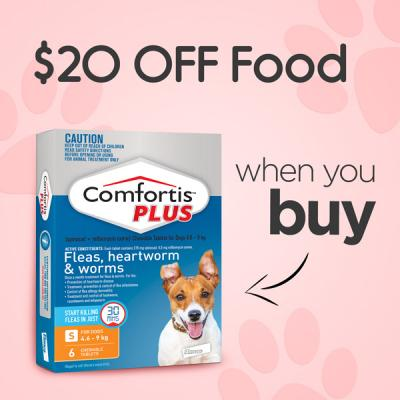 $20 Off Food When You Buy Comfortis Plus 6 Pack