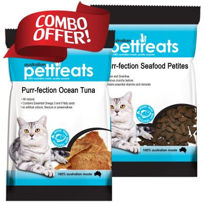 Australian Pettreats Tuna 40gm And Seafood Petites 80gm Treats Duo Pack For Cats