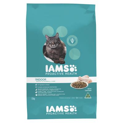 Iams Chicken Adult Indoor Weight And Hairball Care Dry Cat Food 8kg