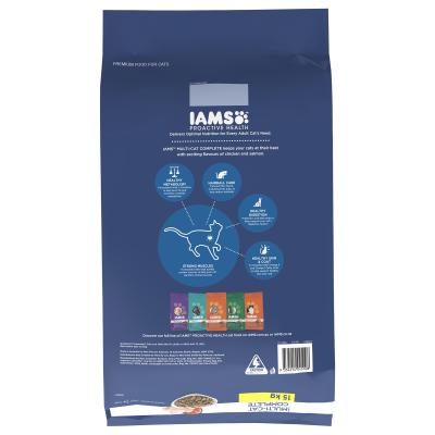 Iams Chicken And Salmon Adult Dry Multi Cat Complete Food 15kg