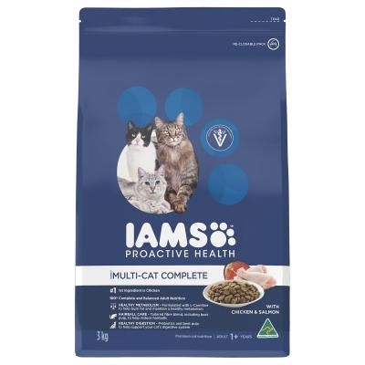 Iams Chicken And Salmon Adult Dry Multi Cat Complete Food 3kg