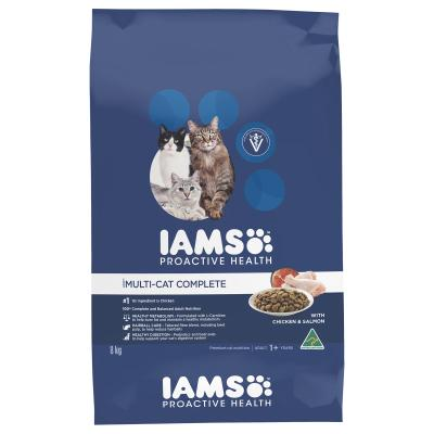 Iams Chicken And Salmon Adult Dry Multi Cat Complete Food 8kg