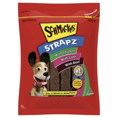 Schmackos Strapz Variety Pack Chicken Liver And Beef Treats For Dogs 500g