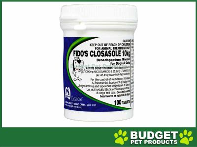 Fidos Closasole Broadspectrum Wormer 10kg For Dogs and Cats 100 Tablets