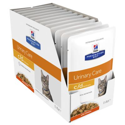 Hills Prescription Diet Feline c/d Urinary Care Multicare Chicken Pouches Wet Cat Food 85gm x 12 (3406LN)
