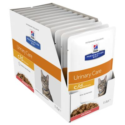 Hills Prescription Diet Feline c/d Urinary Care Multicare Salmon Pouches Wet Cat Food 85gm x 12 (3408LN)