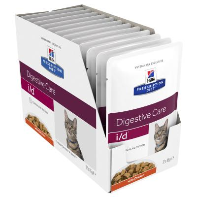 Hills Prescription Diet Feline i/d Digestive Care Chicken Pouches Wet Cat Food 85gm x 12 (3407LN)