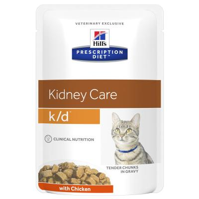 Hills Prescription Diet Feline k/d Kidney Care Chicken Pouches Wet Cat Food 85gm x 12 (3405LN)